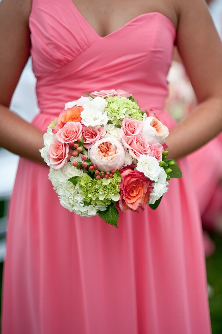 Pink and Coral Garden Rose Bouquet