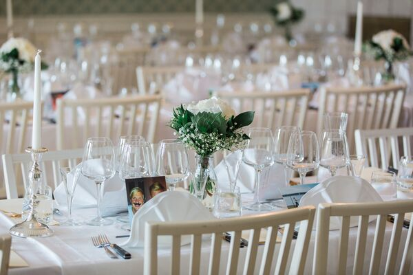 Simple White Rose Centerpieces