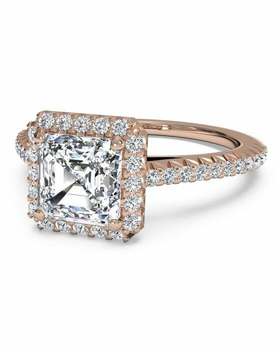 Ritani Asscher Cut French-Set Halo Diamond Band Engagement Ring in 18kt Rose Gold (0.21 CTW) Engagement Ring photo