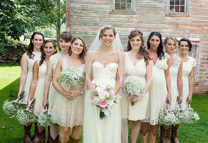 Real Bridesmaids In Beige Bridesmaid Dresses: Mismatched Off-White Lace Bridesmaid Dresses