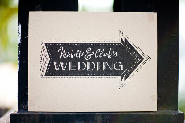 Black and White Custom Wedding Sign