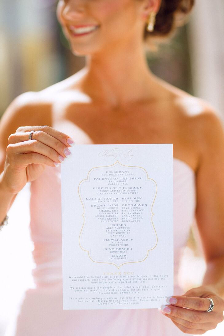 Simple one-page programs shared the names of those in the bridal party along with a thank-you note to all that attended.