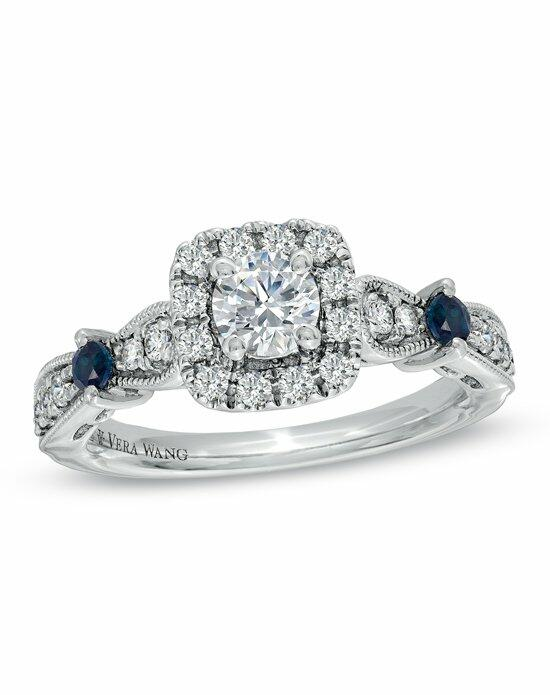 Vera Wang LOVE at Zales Vera Wang LOVE Collection - 3/4 CT. T.W. Rround- Cut Diamond and Sapphire Frame Engagement Ring in 14K White Gold  19205657 Engagement Ring photo
