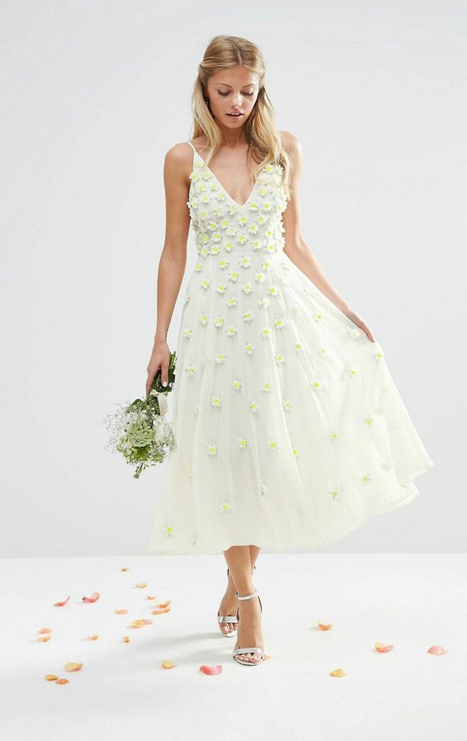White dress with yellow flowers