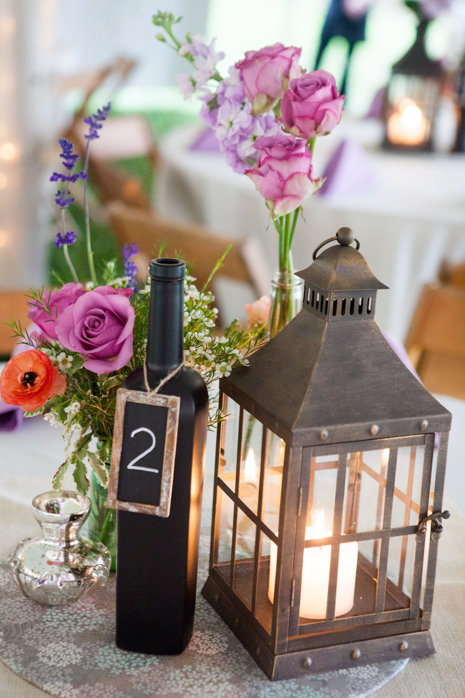 Lantern and Chalkboard Wine Bottle Centerpieces