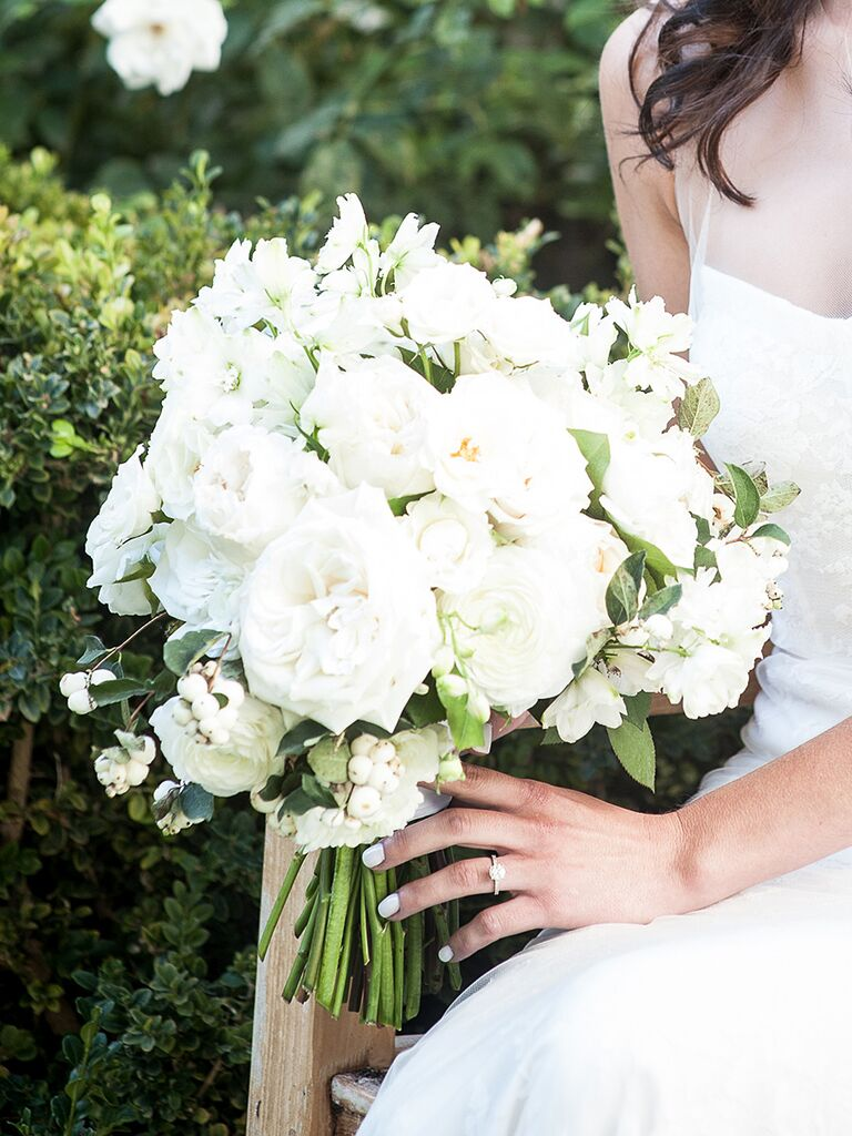 Romantic White Wedding Bouquet With Ranunculus Garden Roses And Sweet Pea