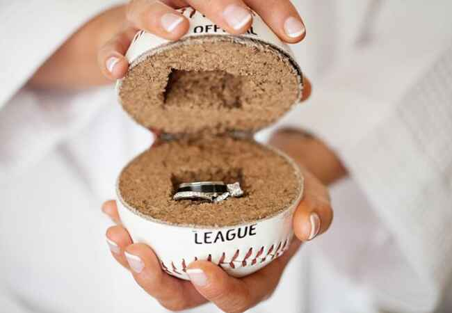 Baseball Ring Holder | Kaitlin Noel Photography  | TheKnot.com
