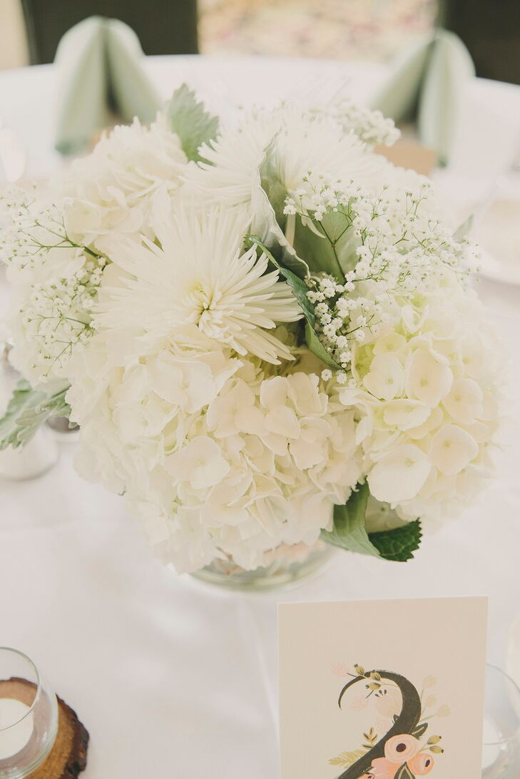 White mum and hydrangea centerpiece