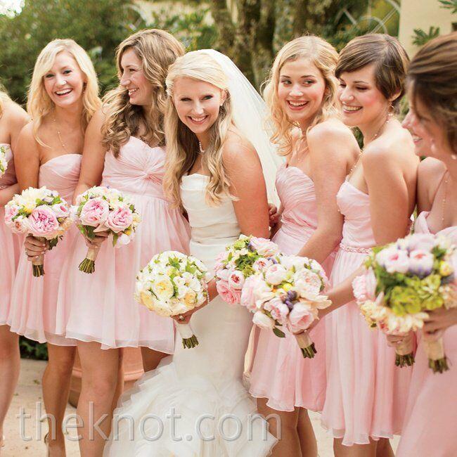 Pink Chiffon Bridesmaid Dresses