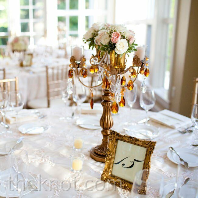 Gold candelabra centerpieces