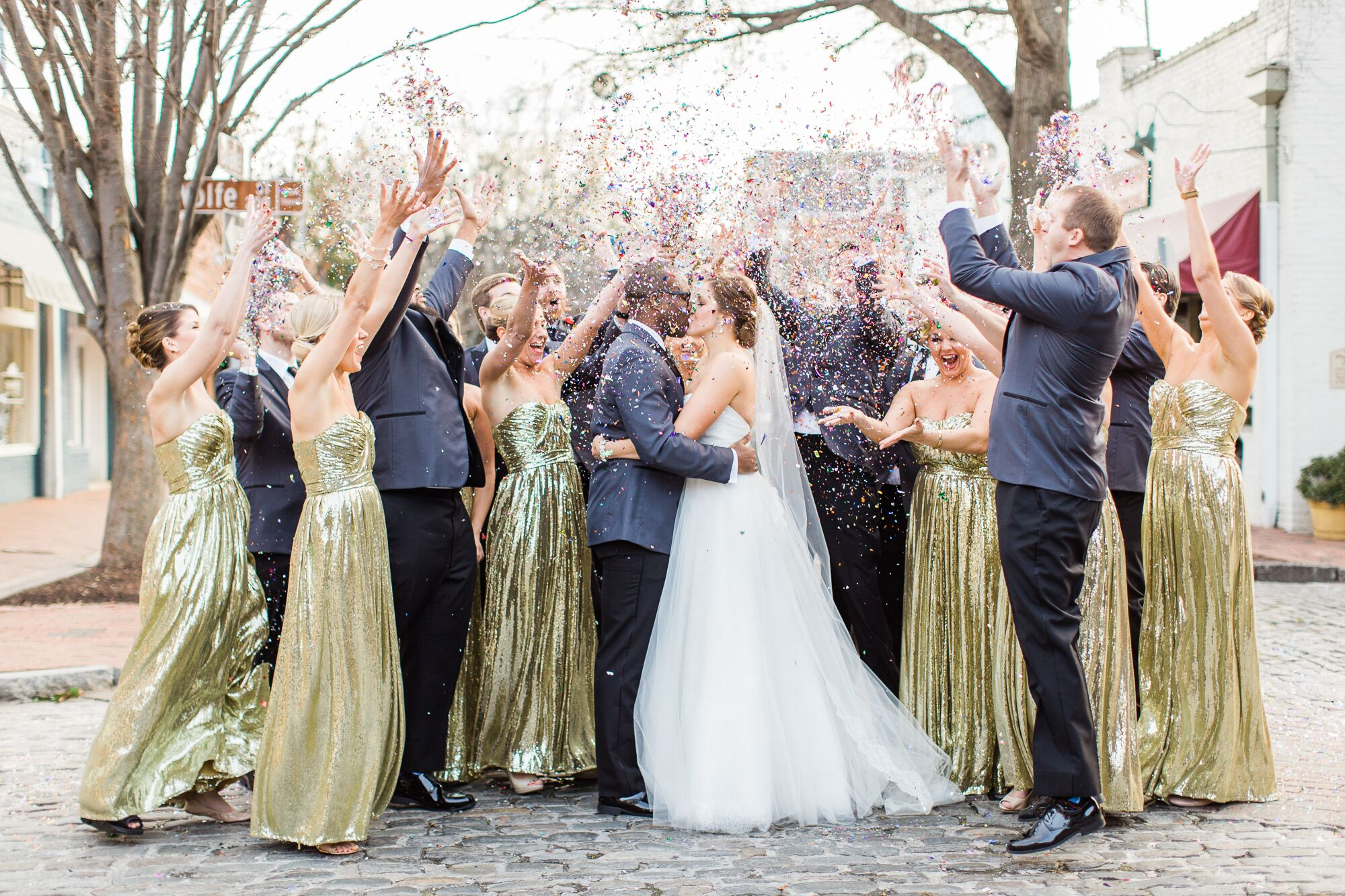 An Urban-Meets-Great Gatsby New Year's Eve Wedding at Cobblestone Hall in Raleigh, North Carolina