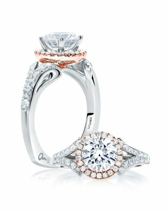 A.JAFFE Center of My Universe™ Rose Gold Diamond Halo Designer Engagement Ring, MES636 Engagement Ring photo