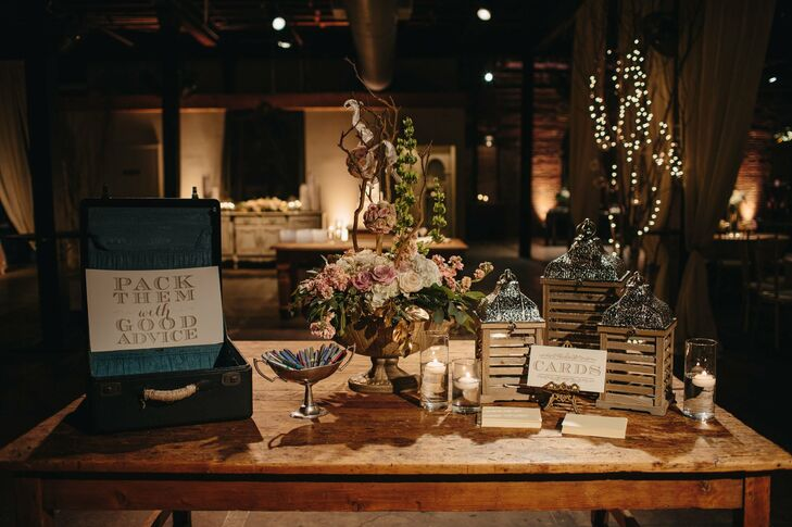 A chic formal wedding in jackson ms guests could place cards for the couple in a vintage suitcase display at the reception junglespirit Images