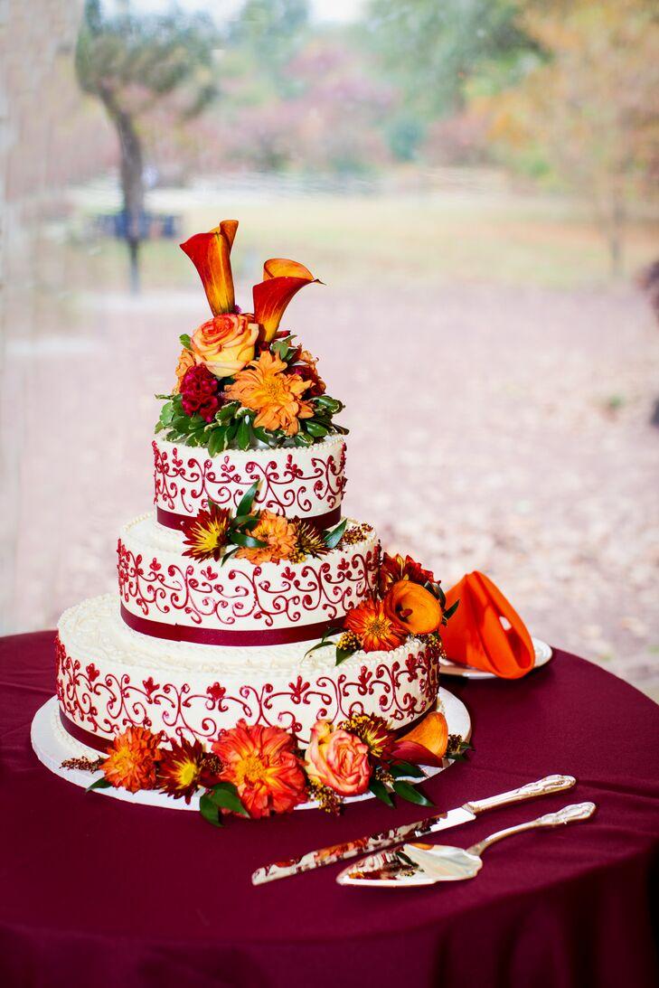 Vibrant Orange Wedding Cake Decorations