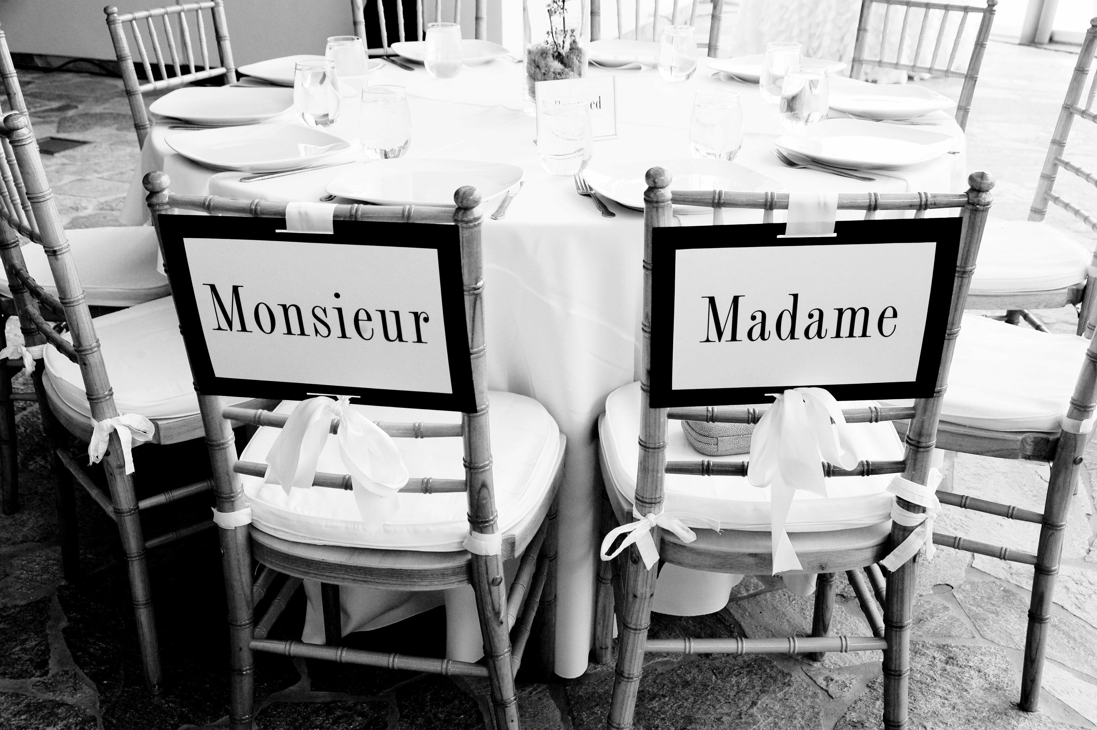 Monsieur And Madame Chair Decorations