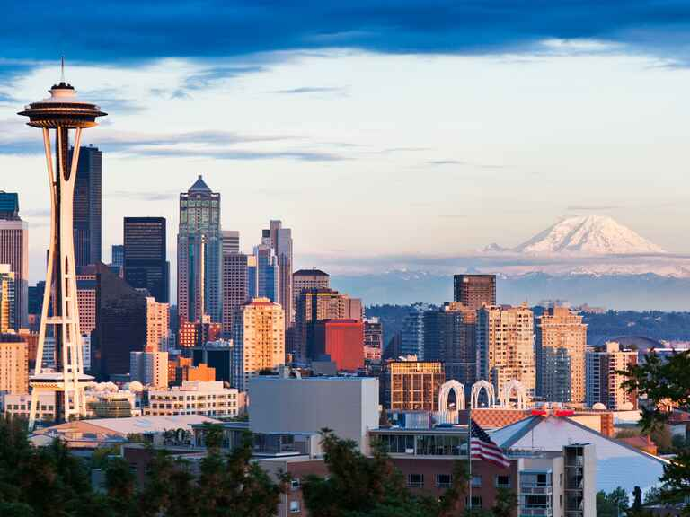 Seattle Washington skyline volcano