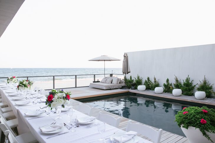 The reception was held on the pool deck overlooking the beach and Atlantic ocean.