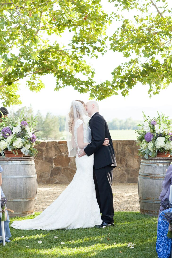 Stryker Sonoma Winery Ceremony First Kiss