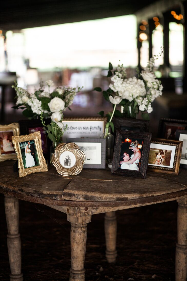 At the cocktail hour in the barn, the couple displayed photos of their grandparents and family members from their own wedding days.