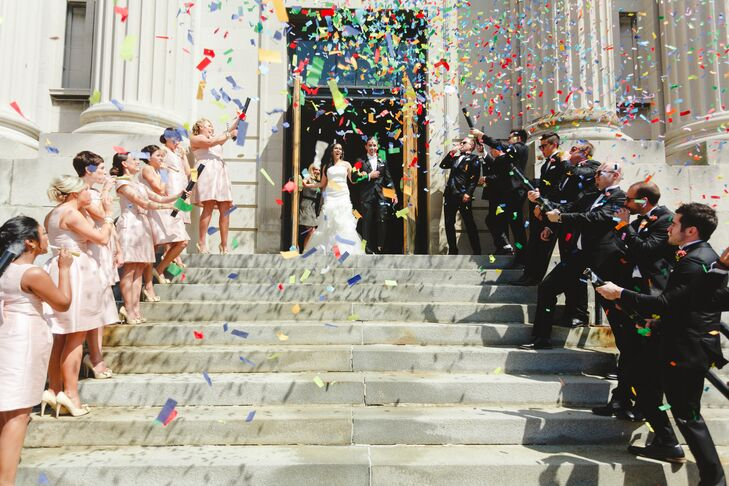Couple Recessional with Colorful Confetti