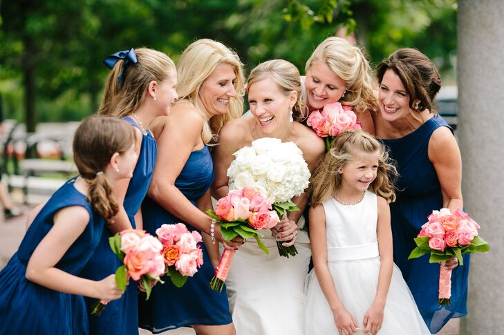 Each of Meredith's bridesmaids chose their own dress from J.Crew's wedding collection. To keep things feeling cohesive, Meredith had the girls stick to the same shade of navy blue.