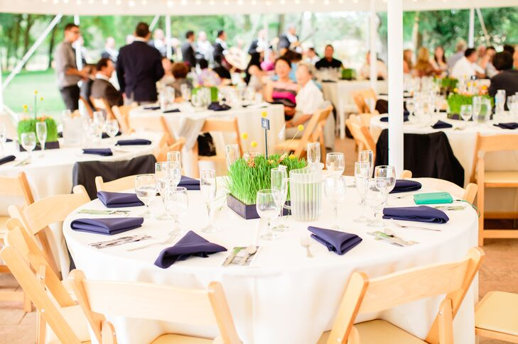 Ivory and Navy Blue Wedding Table Decorations