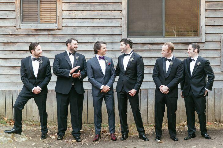 Groomsmen in Black Suits and Ties
