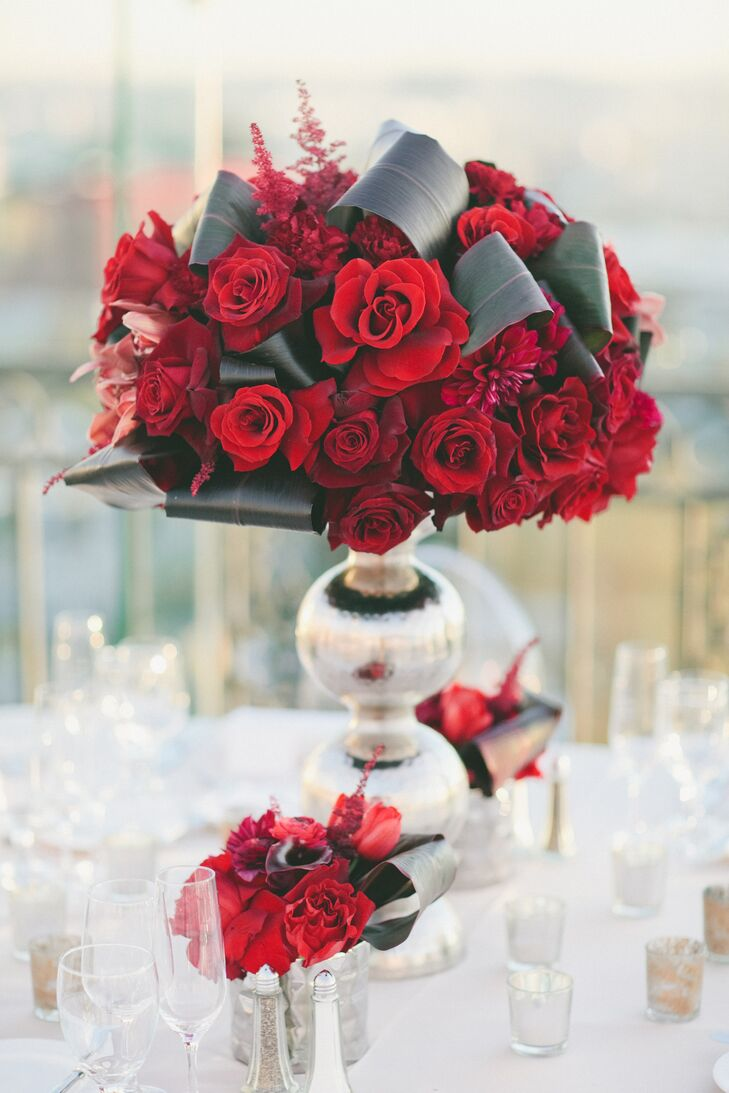 Modern Rose Centerpieces : Modern red rose and banana leaf centerpieces