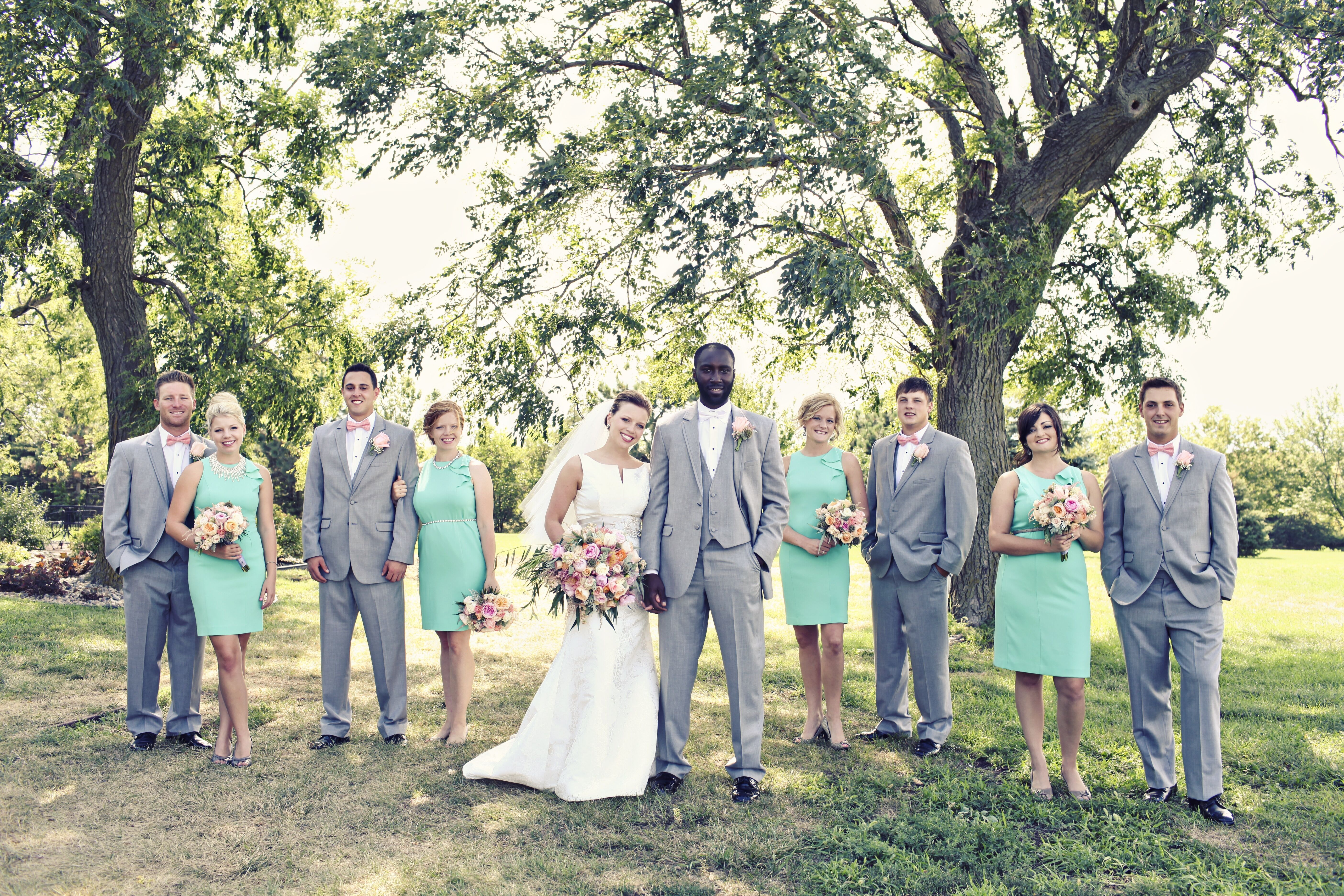 mint and gray wedding party