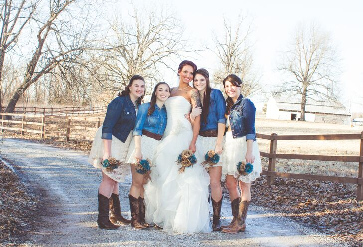 "Amanda told her bridesmaids she wanted them to wear a denim shirt or jacket with a brown belt and an ivory dress or skirt with cowboy boots. ""Each girl made the outfits their own and looked beautiful,"" Amanda says. ""It was important to me that they were able to purchase things they would wear again and very important that the two pregnant bridesmaids were comfortable."""