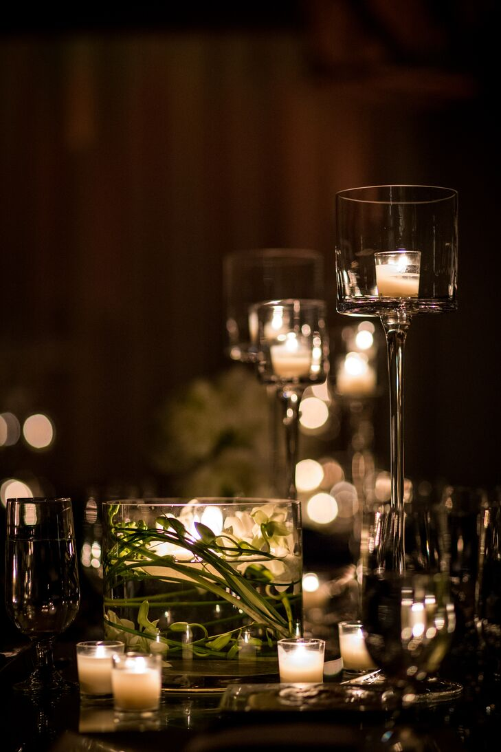The room was decorated with more than 300 candles for a romantic, candlelit reception.
