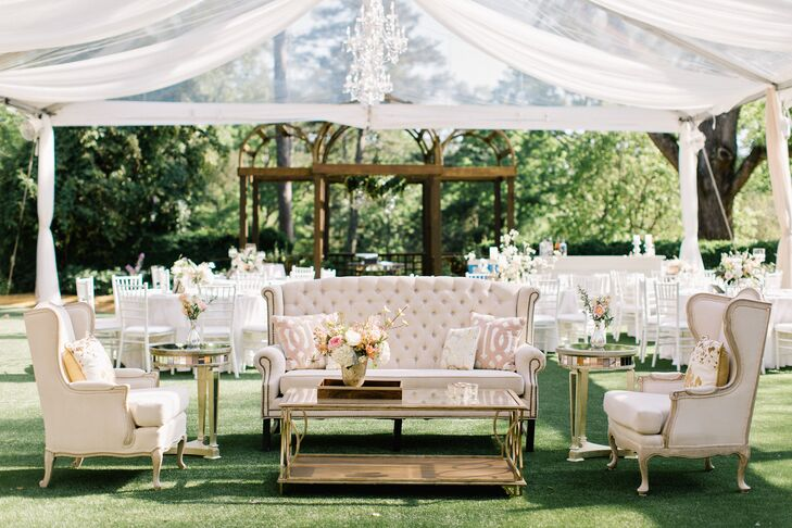 Draped Cocktail Hour Tent with Glam Lounge Furniture
