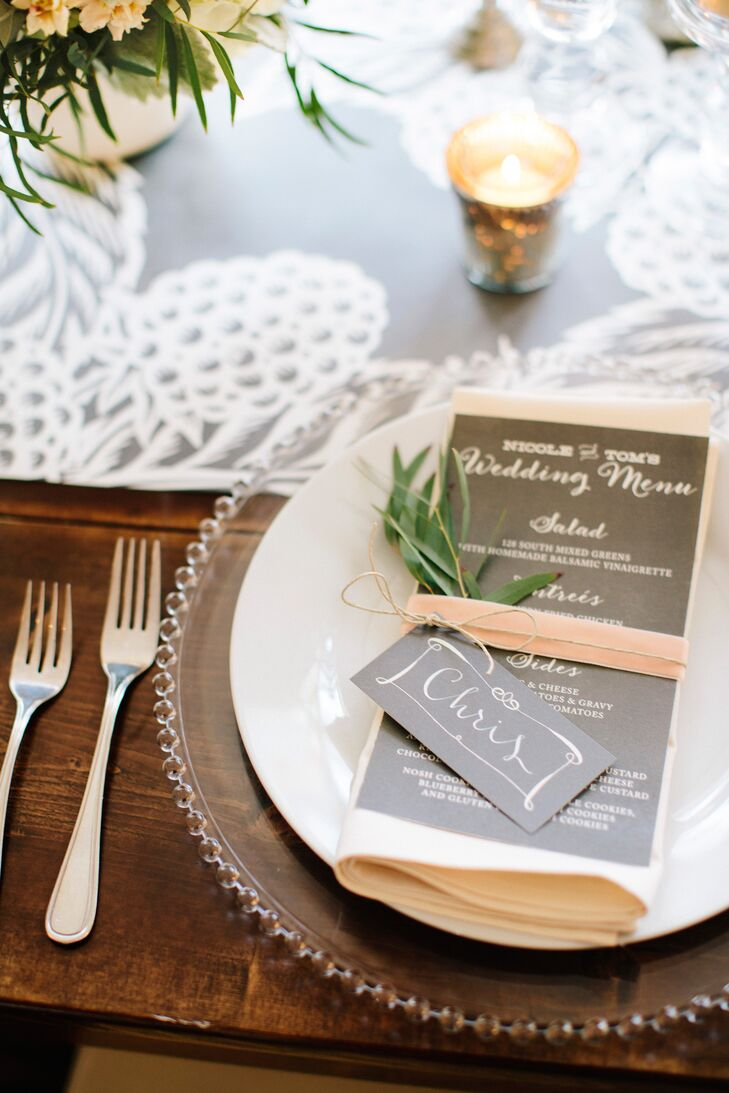 Black-and-White Escort Cards and Menus