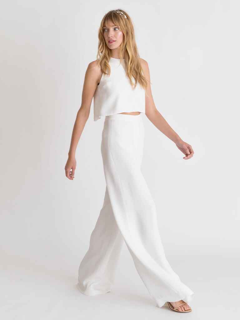 Alexandra Grecco Spring/Summer 2018 wide-leg high waisted pants and matching flowy crop top wedding outfit