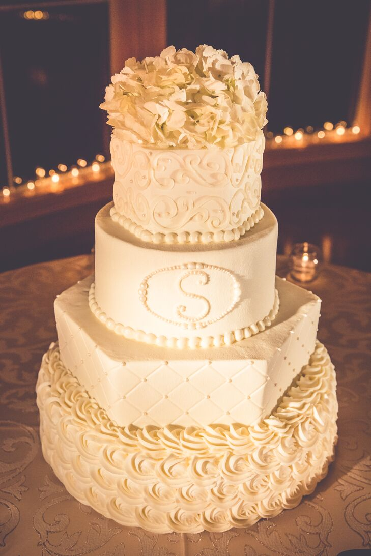 Classic Four Tier White Wedding Cake by Lisa Barcelona