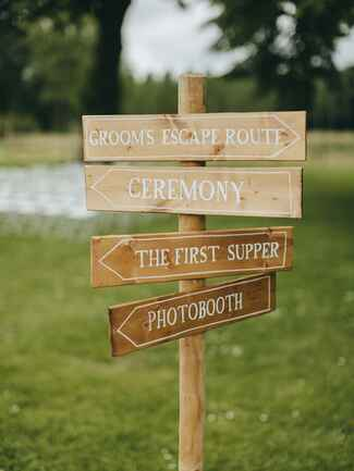 Simple wedding day sign with funny phrases