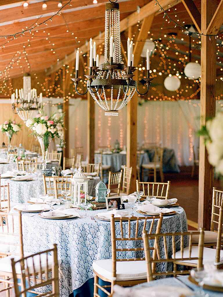 Rusic wedding decorations with romantic chandeliers