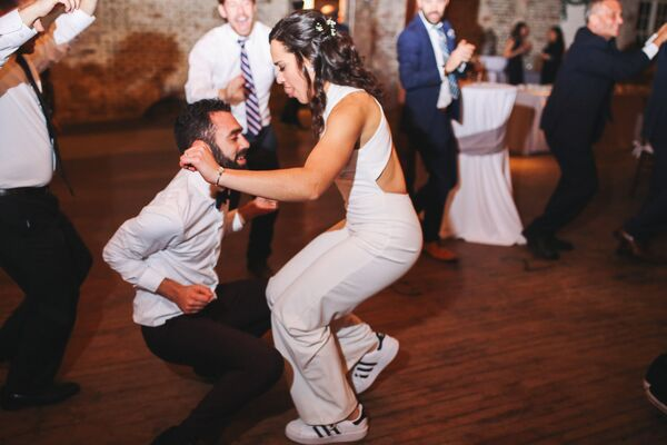 Bridal Jumpsuit and Sneakers
