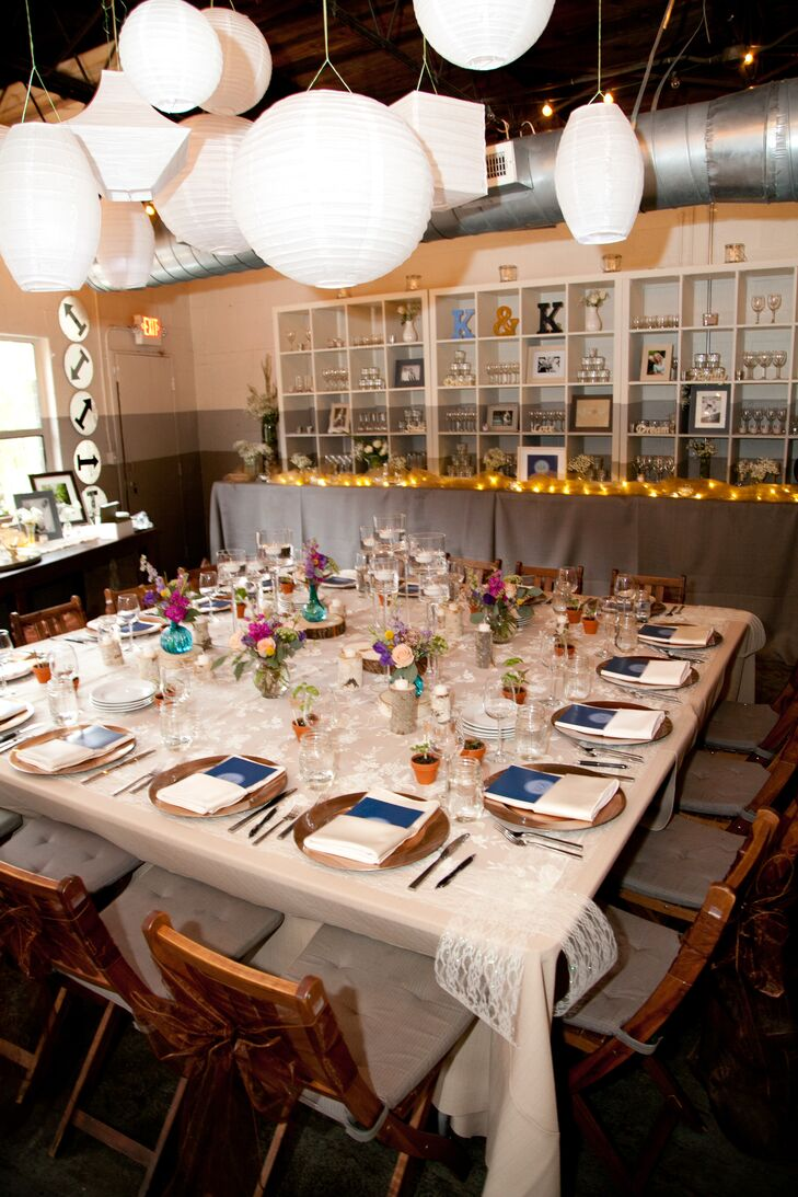"The couple invited guests to celebrate at Sun In My Belly, a warm restaurant with a great reception and patio area. ""We wanted somewhere that was beautiful but not super traditional or formal so we could still feel relaxed and be ourselves,"" Kathryn says. ""Sun In My Belly's stylish, eclectic, homey decor was ideal!"""
