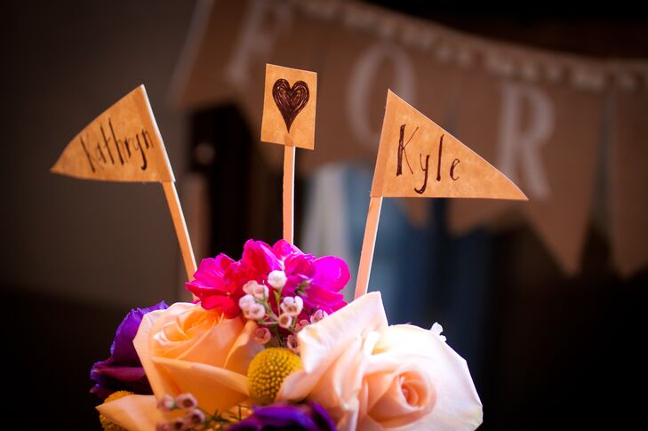 Fresh Flowers and Rustic Flag Cake Topper