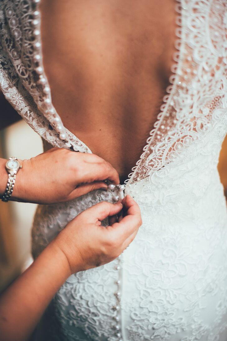 Illusion Back Lace Wedding Dress with Pearl Buttons