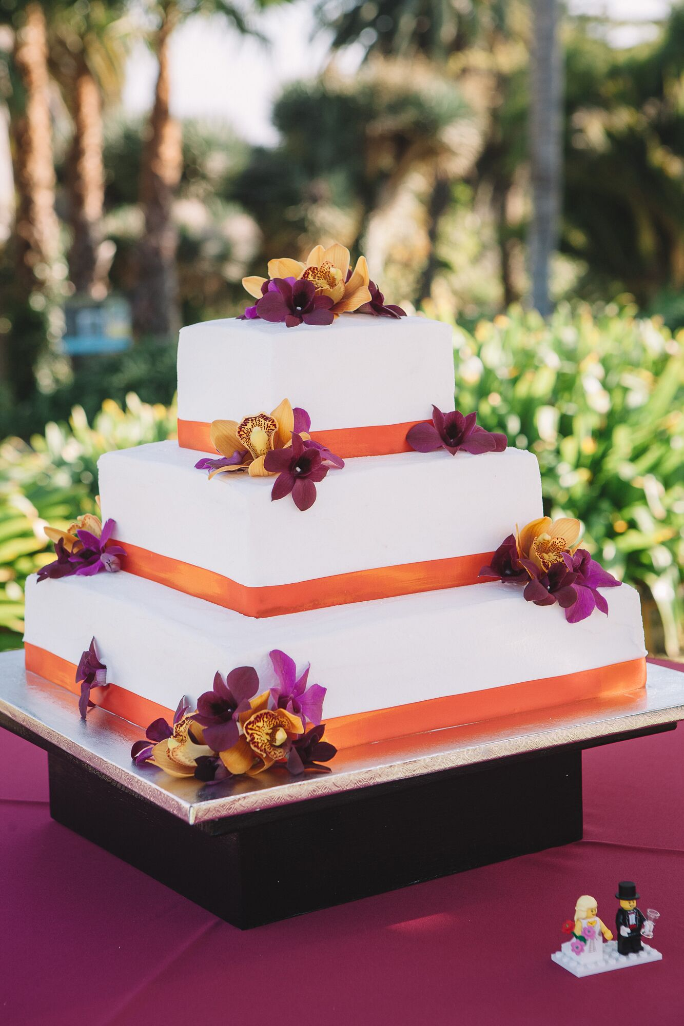 Ivory Wedding Cake Decorated with Flowers