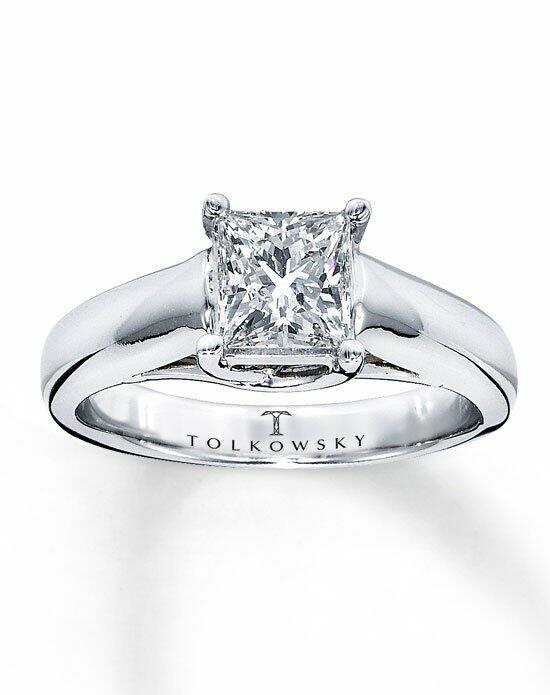 Tolkowsky Diamond Solitaire Ring 1 ct Princess-Cut 14K White Gold-161263102 Engagement Ring photo