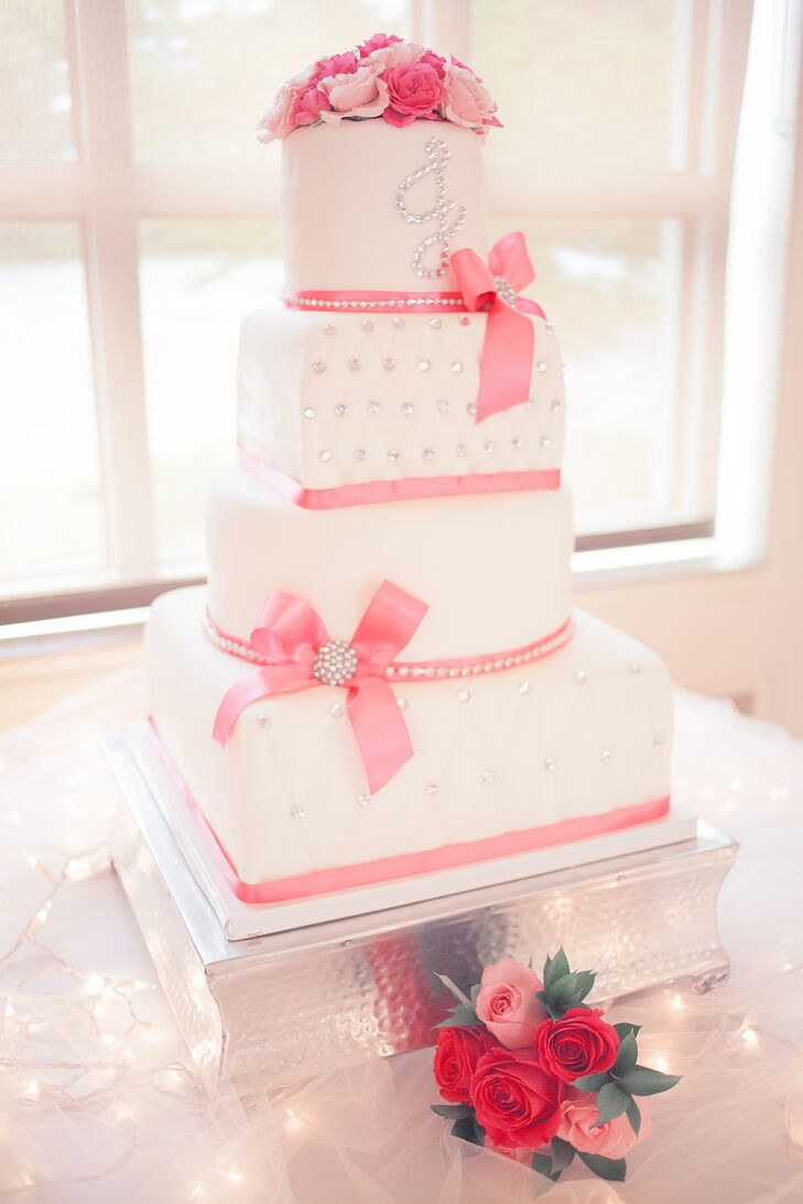 Four-Tier Fondant Wedding Cake with Pink Bows
