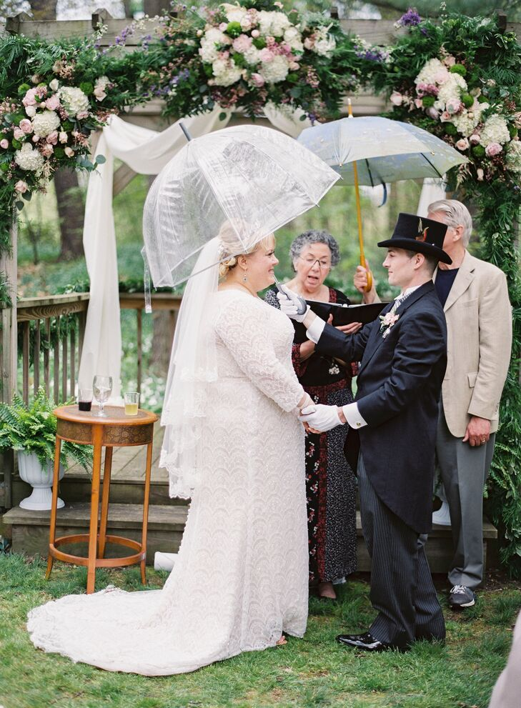 "Nicole's advice to future brides came in handy on her own wedding day, when it rained for 10 minutes during the ceremony: ""Don't stress. This is a hard concept, but really—if it rains, just learn to dance in the rain."""