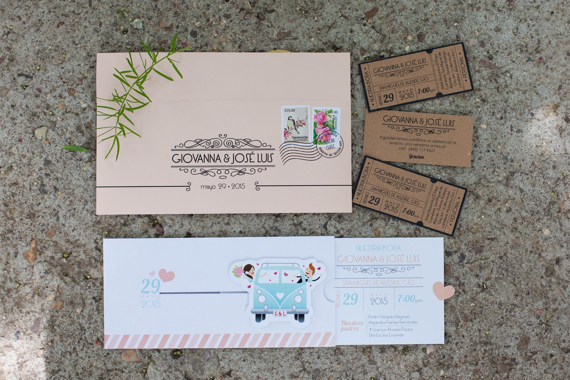 Whimsical Vintage Volkswagen Bus Wedding Invitations