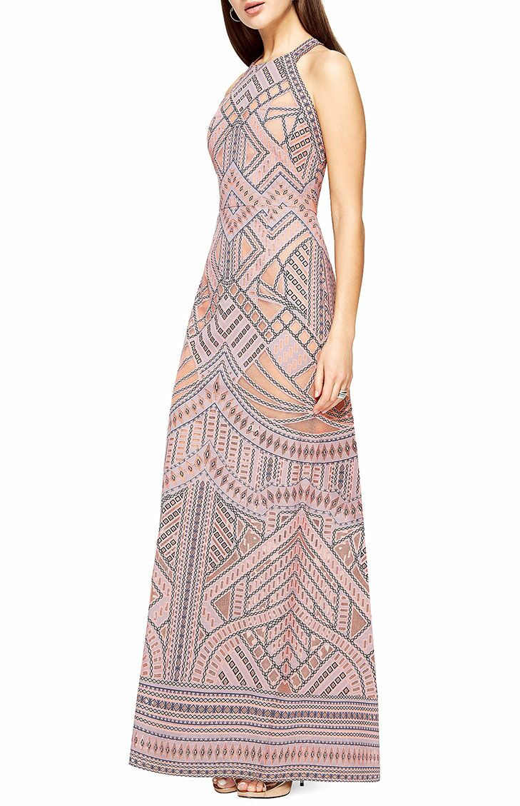 Pink Geometric Beach Wedding Guest Dress