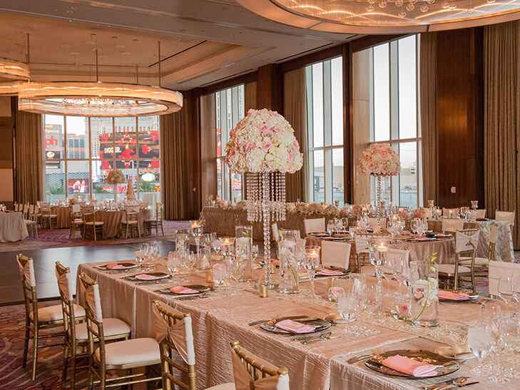 room set up for wedding reception at the mandarin oriental in las vegas