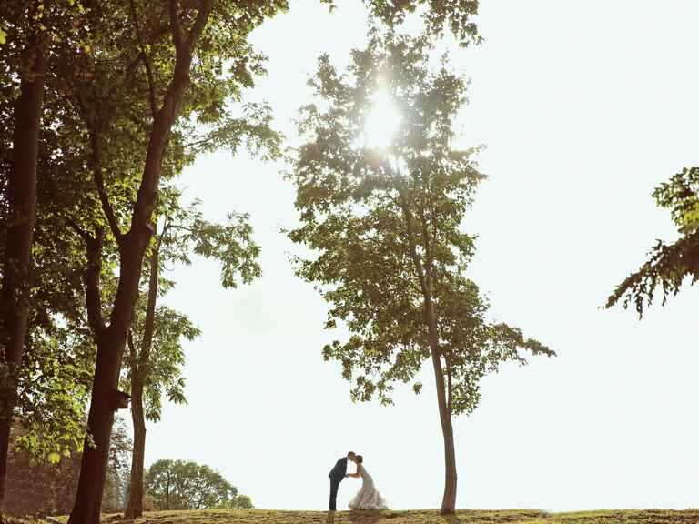 Artistic wedding photography of bride and groom