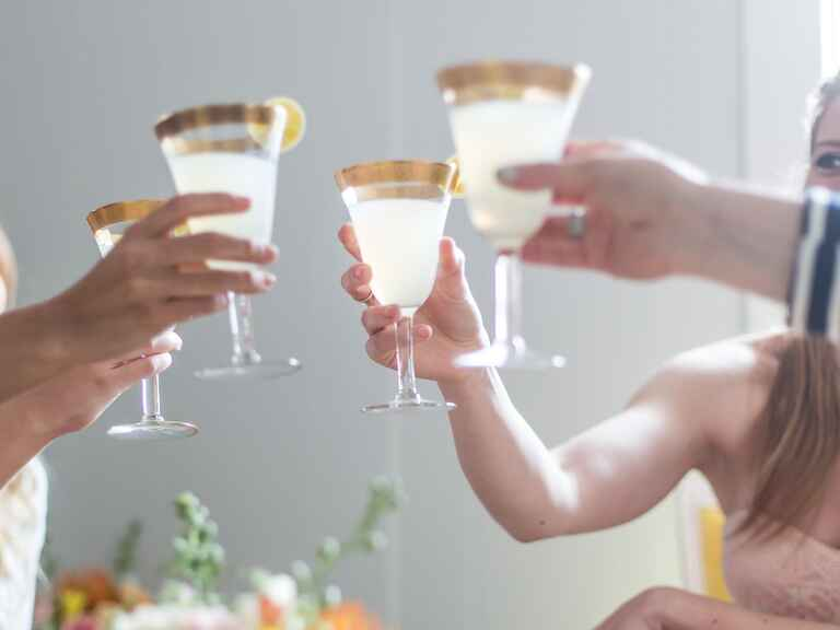 Bridesmaids toast at bridal shower